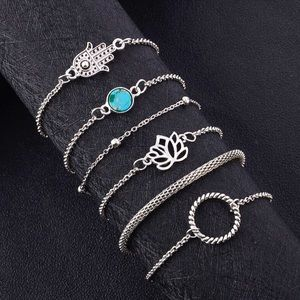 2/$20! Set of 6 Silver Hansa, Lotus Boho Bracelets